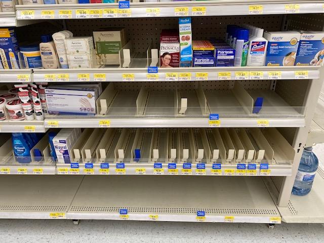 Empty Shelf hand sanitizer